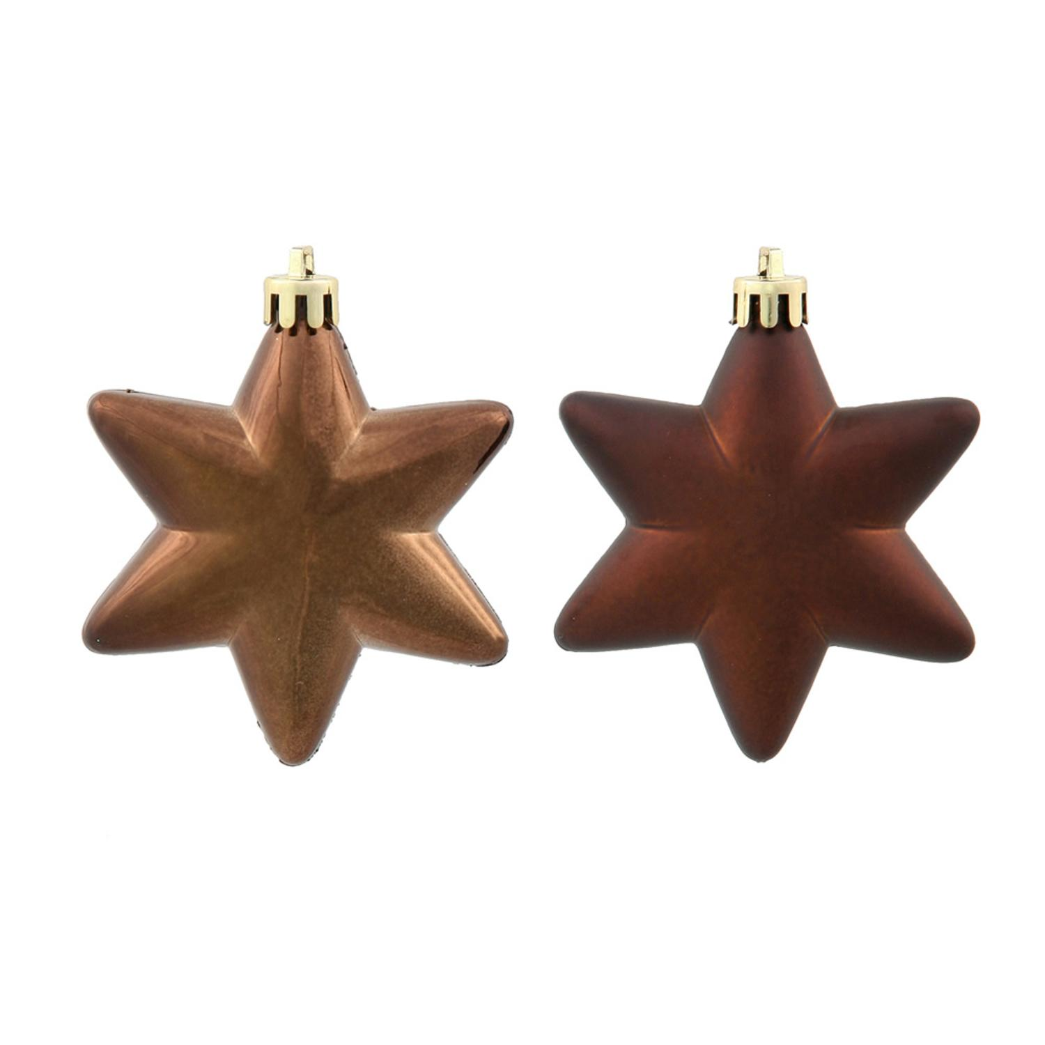 """36ct Matte & Shiny Chocolate Brown Star Shatterproof Christmas Ornaments 1.5""""-2"""""""