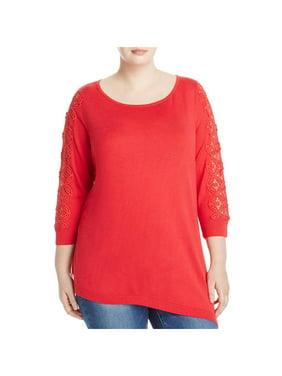 9dd36609f797 Product Image Love Scarlett Womens Plus Lace Trim Scoop Neck Tunic Sweater