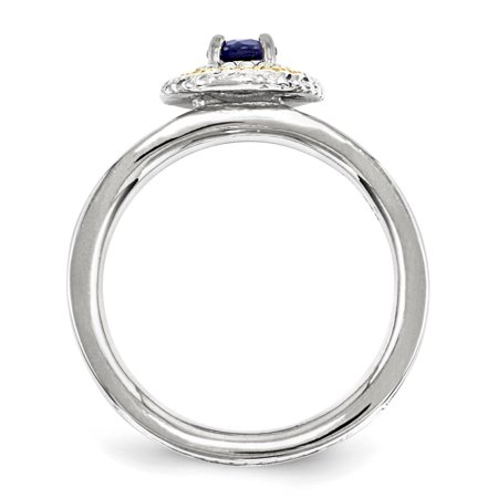 Sterling Silver & 14k Stackable Expressions Created Sapphire Ring Size 7 - image 2 of 3
