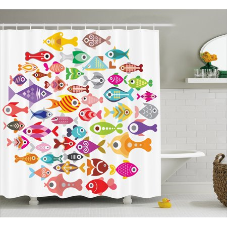 Fish Shower Curtain Rounded Different Size Type Motifs Underwater World Exotic Fauna Gills Design