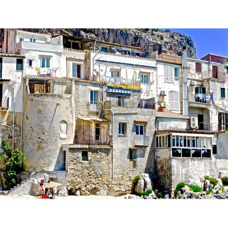 Canvas Print Houses Hilly Stone Village Outlook Mediterranean Stretched Canvas 10 x 14
