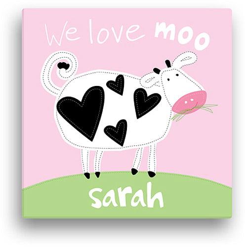 "Sandra Magsamen Personalized Love Moo Canvas Wall Art, 16"" x 16"", Pink"