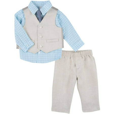 George Newborn Baby Boy Linen Like Dress Set