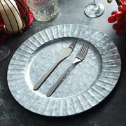 BalsaCircle 24 pcs 13-Inch Silver Galvanized Metal Round Charger Plates with Decorative Ruffled Rim Wedding Party Table Decorations