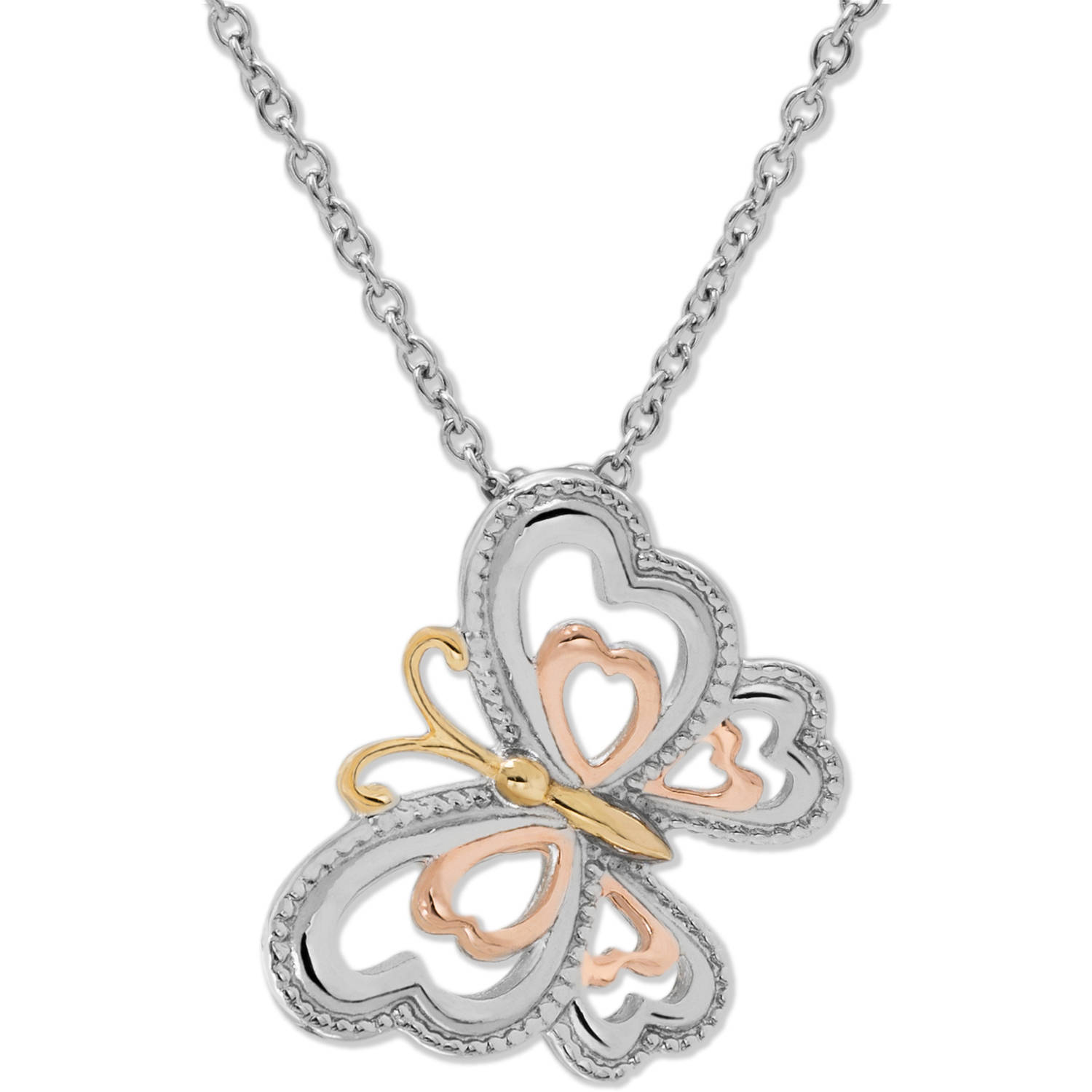 "Connections from Hallmark Stainless Steel Tri-Color Butterfly Necklace, 18"" Chain with 2"" Extender"