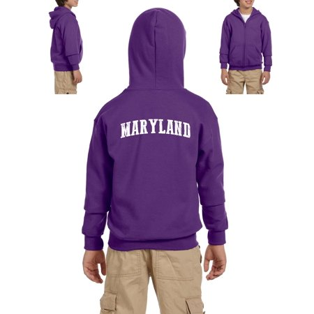 MD Maryland Map Baltimore Flag Terrapins Terps Home University of Maryland  Youth Hoodies Zip Up Sweater