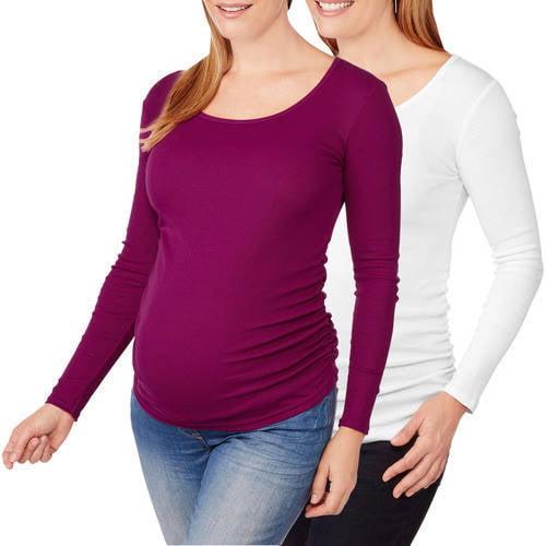 Planet Motherhood Maternity Long Sleeve Scoop Neck Tee With Flattering Side Ruching, 2-Pack Value Bundle