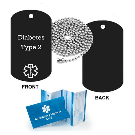 Diabetes Type 2 Medical Alert ID Dog Tag Pendant in Anodized Aluminum