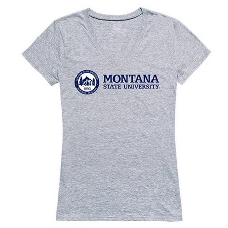 Montana State Seal - W Republic Apparel 520-192-H08-01 Montana State University Women Seal Tee Shirt - Heather Grey, Small