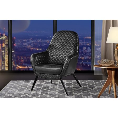 Accent Chair for Living Room, Faux Leather Arm Chair with Diamond ...