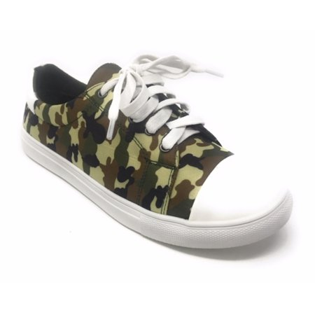 Forever Young Women's Camouflage With Solid White Tipping Lace up Sneakers - Green Party Shoes