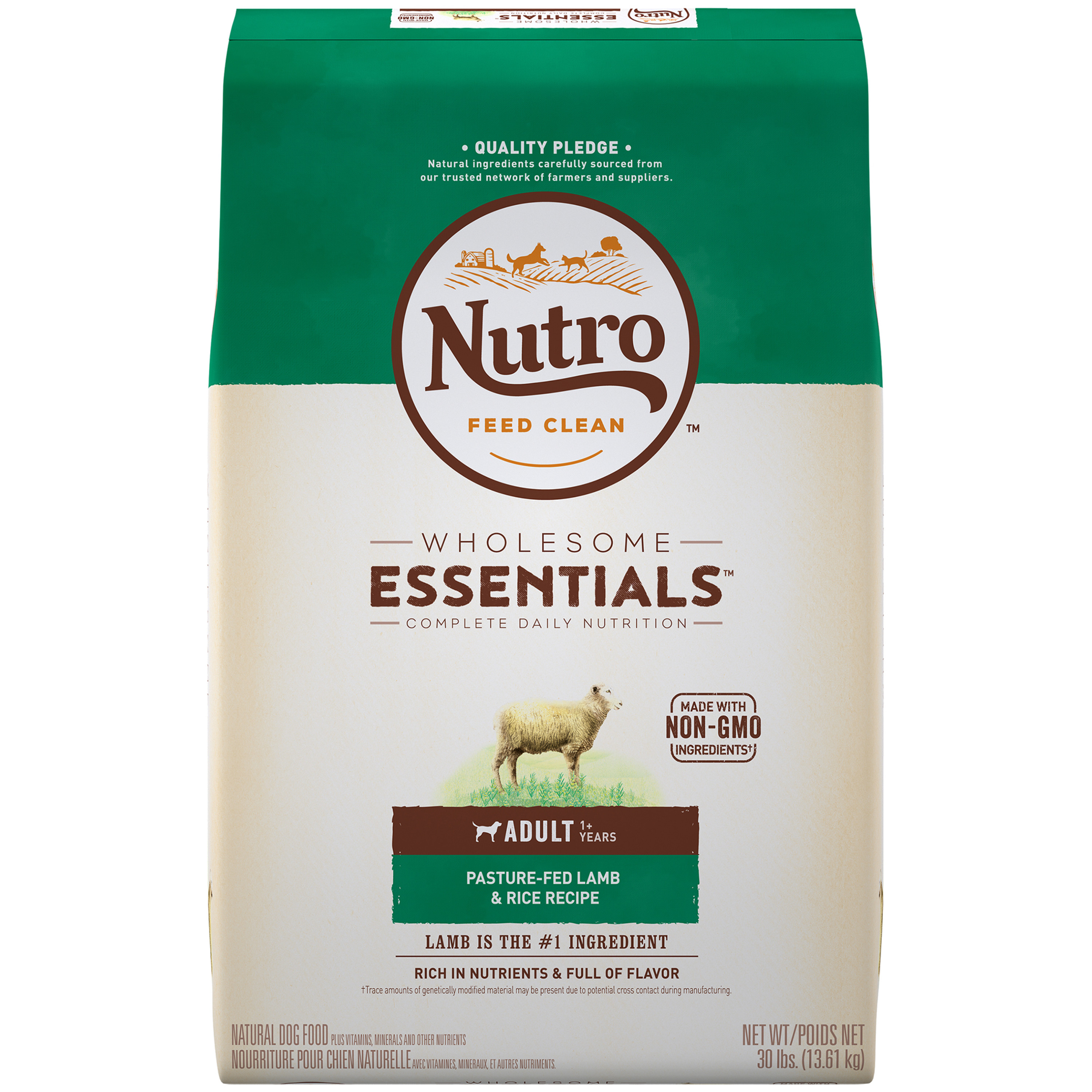NUTRO WHOLESOME ESSENTIALS Adult Dry Dog Food Pasture-Fed Lamb & Rice Recipe, 30 lb. Bag