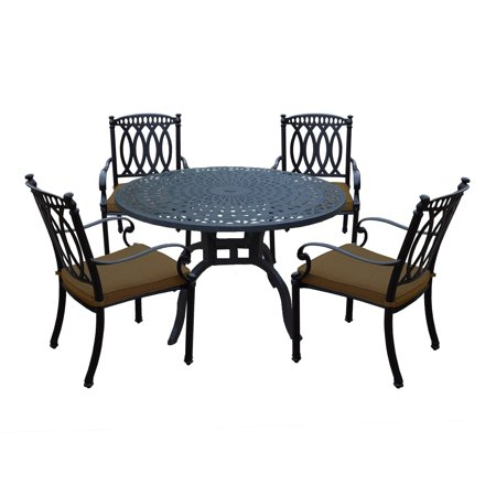 Aluminum 5 Piece Dining Set with 48in. Round Dining Table and 4 Fully Welded Cast Aluminum Sunbrella cushioned Dining Chairs