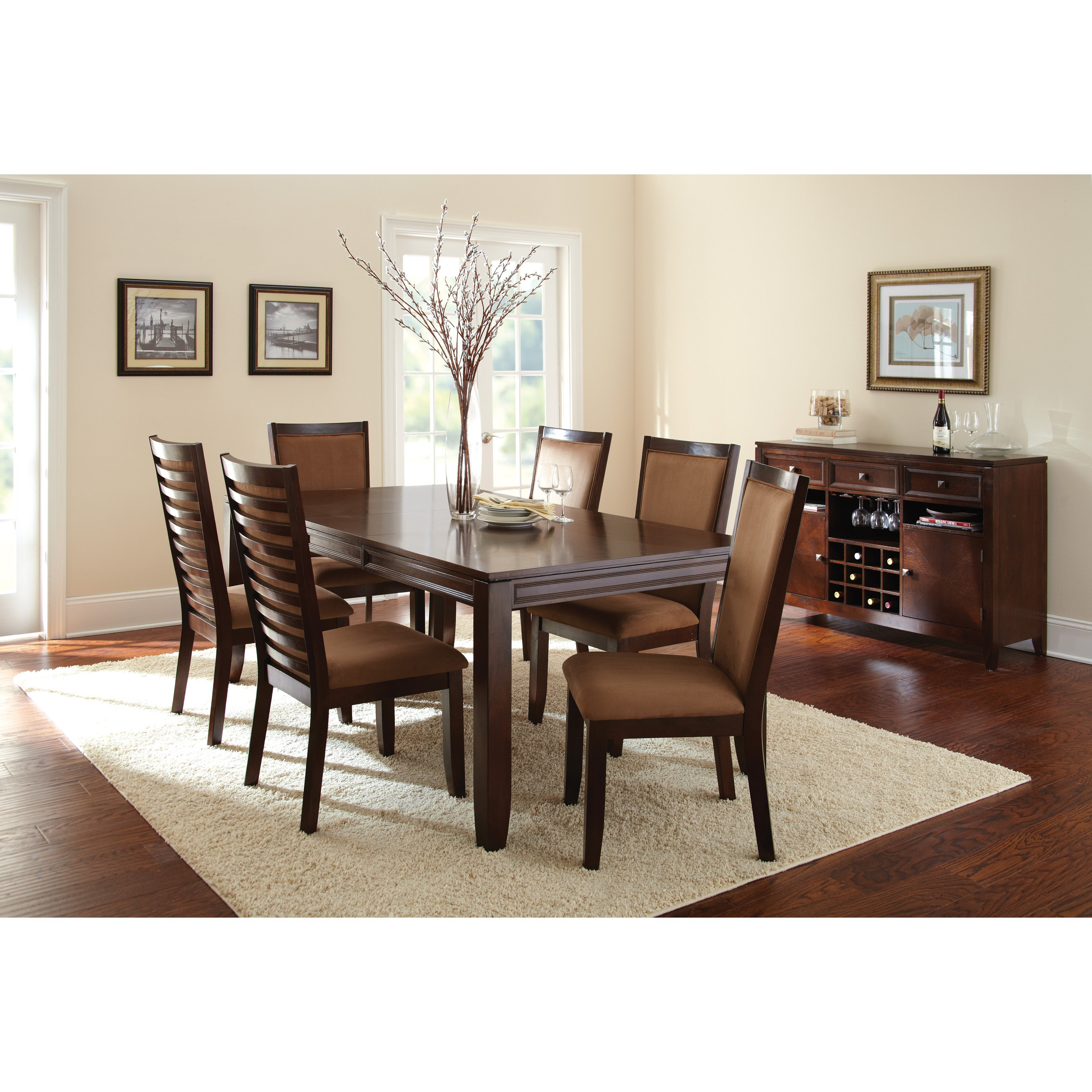 Steve Silver Cornell 7 Piece Dining Table Set - Espresso