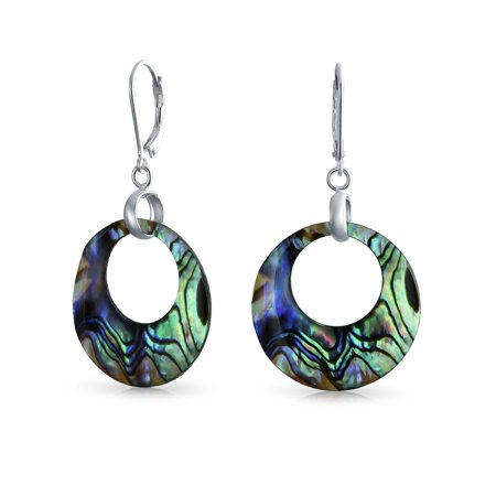 Round Shell Earrings - Rainbow Iridescent Abalone Round Open Circle Hoop Leverback Earrings For Women 925 Sterling Silver