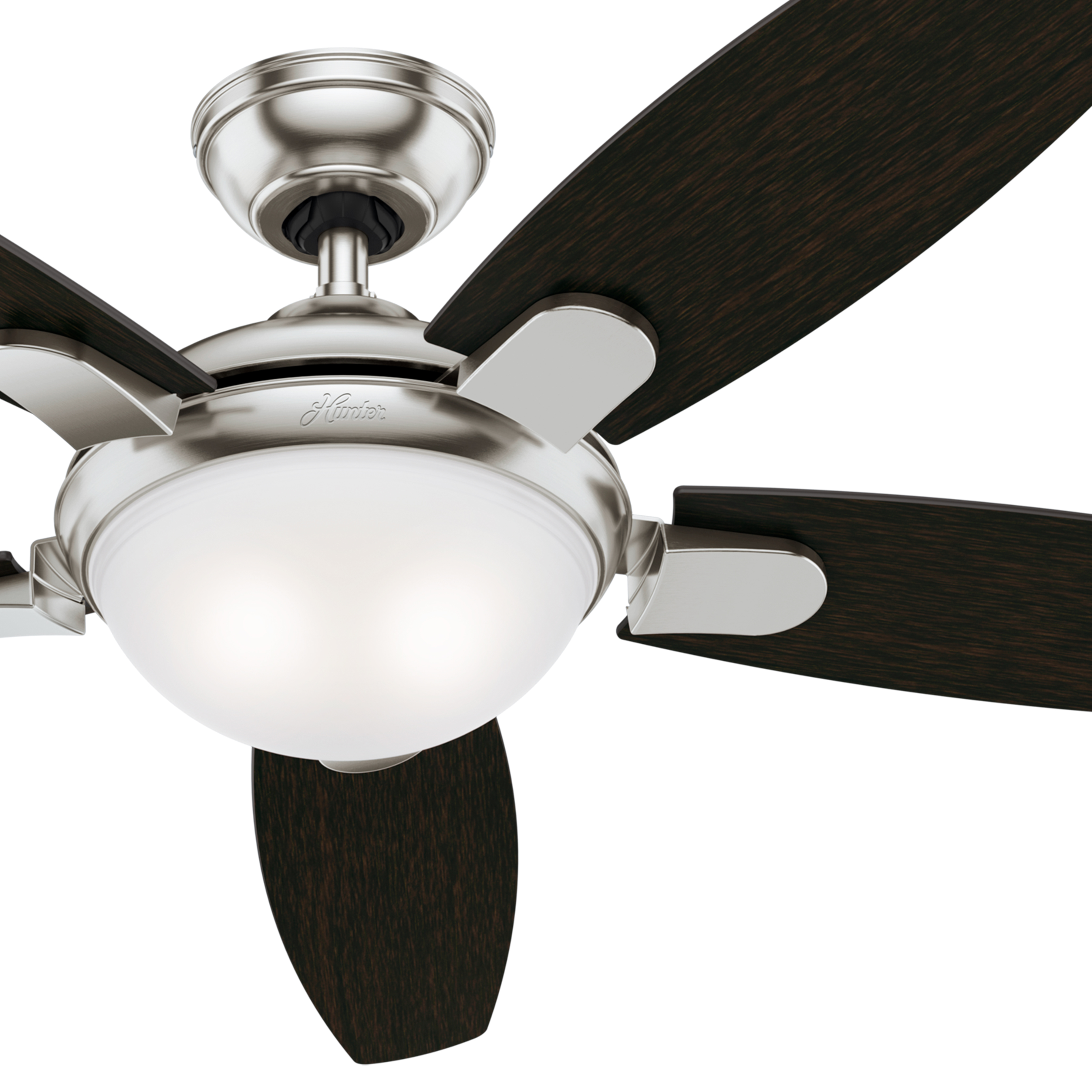 "Hunter Fan 54"" Contemporary Ceiling Fan in Brushed Nickel with LED Light and Remote Control (Certified Refurbished)"