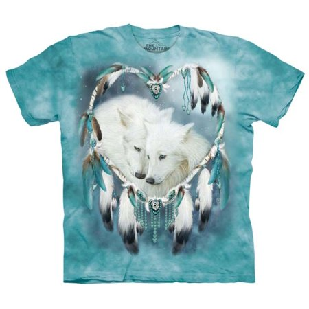 Blue 100% Cotton Wolf Heart Graphic Novelty T-Shirt for $<!---->