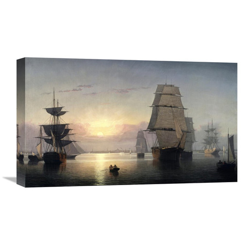 Global Gallery 'Boston Harbor, Sunset' by Fitz Hugh Lane Painting Print on Wrapped Canvas