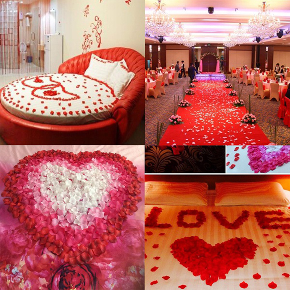 Girl12Queen 500Pcs Wedding Party Decoration Floral Confetti Artificial Rose Flower Petals