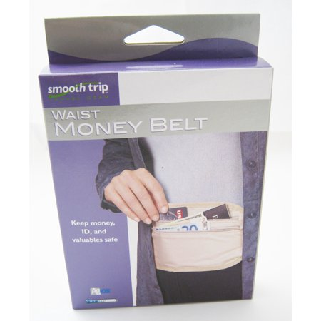 Waist Money Belt Travel Pouch 2 Pockets Money Belt Passport Holder Max Waist 44