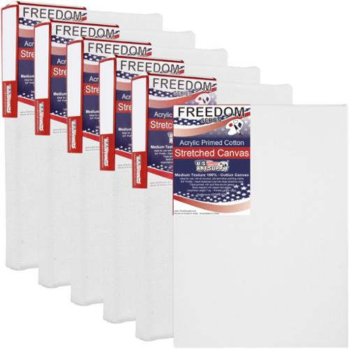 US Art Supply 5 x 7 inch Professional Quality Acid Free Stretched Canvas 6-Pack - 3/4 Profile 12 Ounce Primed Gesso