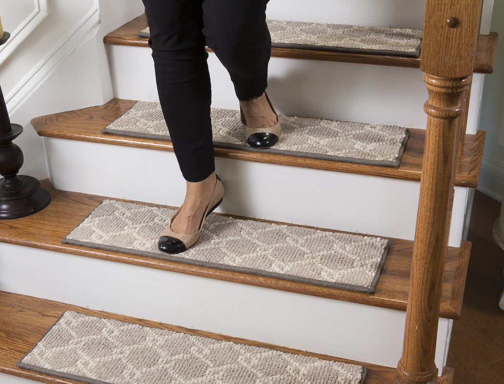 Parterre Traditional Carpet Stair Tread With Adhesive Padding   27u0026quot;  Wide, 9u0026quot; ...