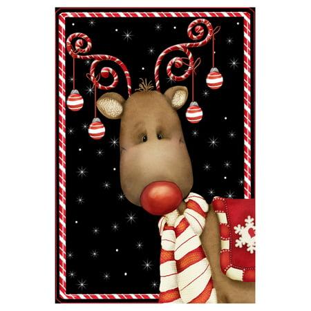 Toland Home Garden Candy Cane Reindeer Flag