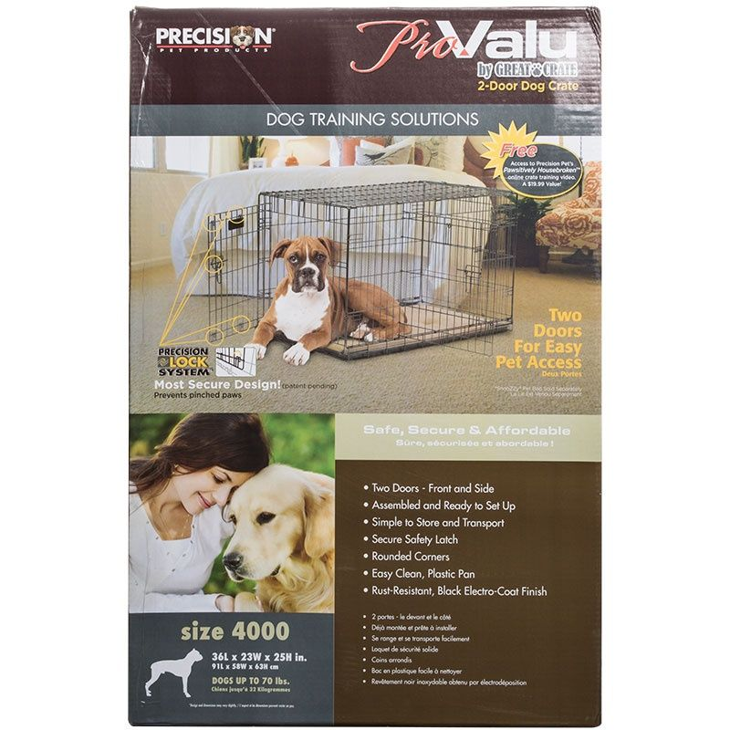 Precision Pet ProValu Great Crate Double Door Dog Crate - Black
