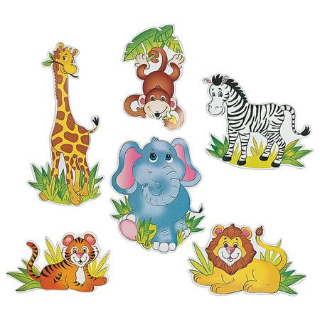 Fun Express - Zoo Animal Cutouts (6pc) for Birthday - Party Decor - Wall Decor - Cutouts - Birthday - 6 Pieces](Cardboard Animals)