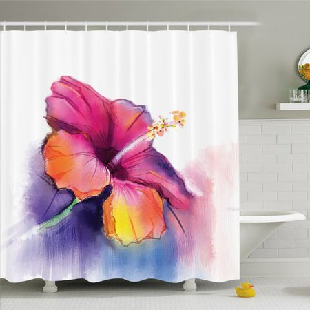 Ambesonne Watercolor Flower Home Hibiscus Flower in Pastel Abstract Romantic Petal Pattern Shower Curtain Set