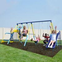 Sportspower Ridgewood Me and My Toddler Metal Swing Set with 5ft Heavy Duty Slide and Mini Trampoline
