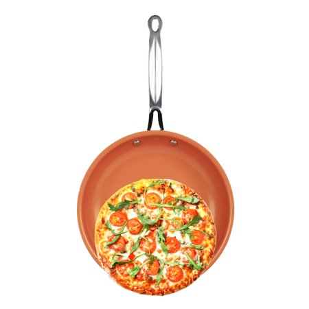 iMounTEK [Non Stick] Anti Scratch Round Copper [10 INCH] Frying/Baking/Broiling Pan. Ideal for Electric/Induction/Gas Stoves. PTFE/PFOA/PFOS Free! [Ceramic/Aluminum/Stainless Steel]  Oven Safe!