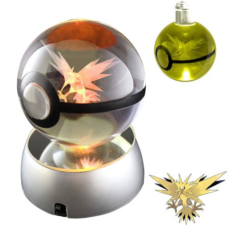 Baken 3D Crystal Ball LED Night Light with LED Keychain Laser Engraving (Zapdos)](Glowing Ball Night Light)