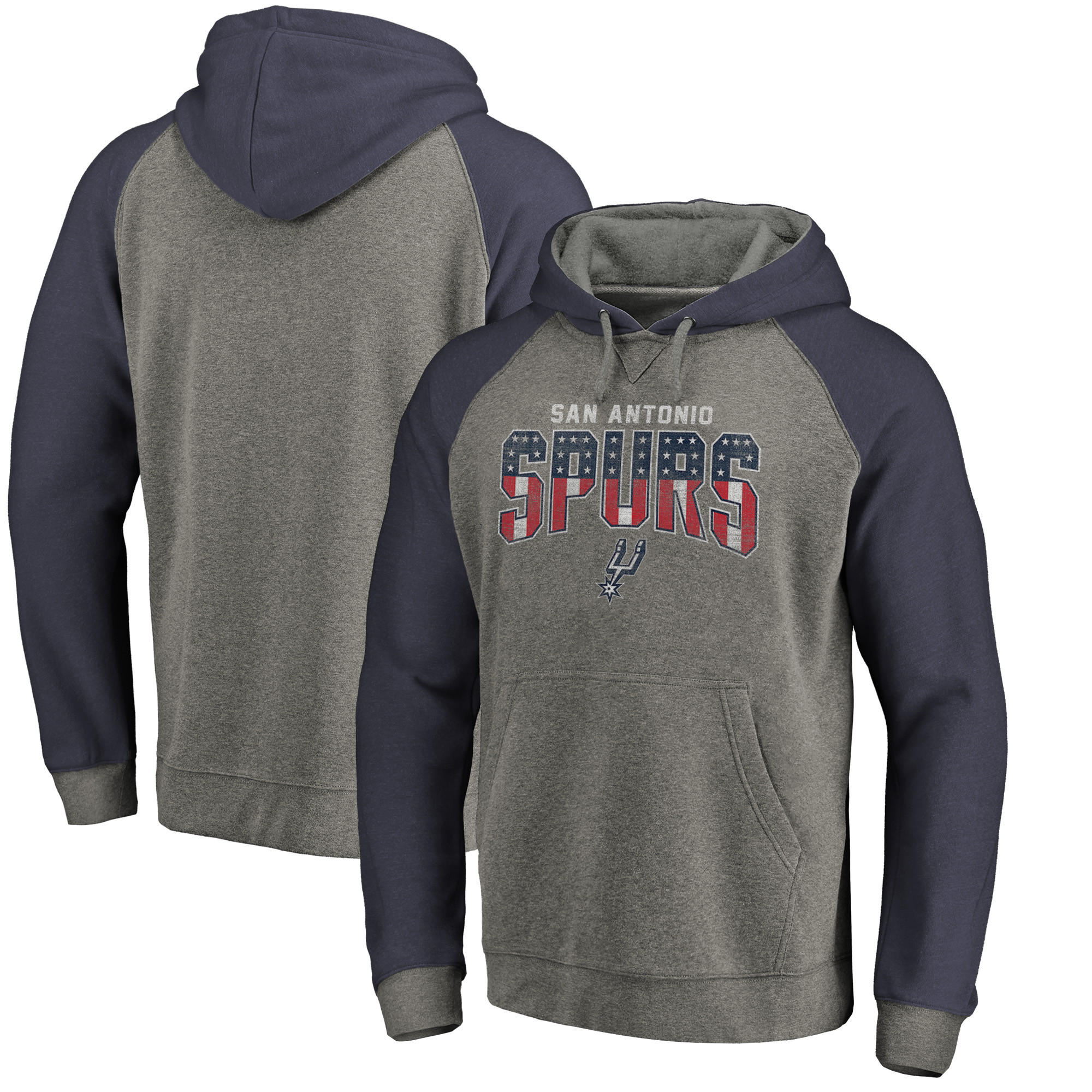 San Antonio Spurs Fanatics Branded Freedom Tri-Blend Pullover Hoodie - Heathered Gray