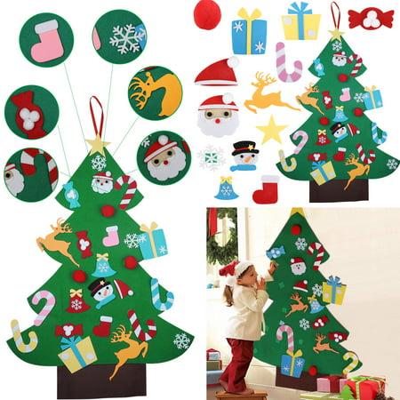 DIY Christmas Tree Set, TSV 3ft Felt Christmas Tree + 26 Pcs Colored Ornament Decor, Wall Hanging Christmas Tree Decorations, Detachable Ornaments Xmas Gifts for Kids Xmas Gifts Home Door Decoration ()