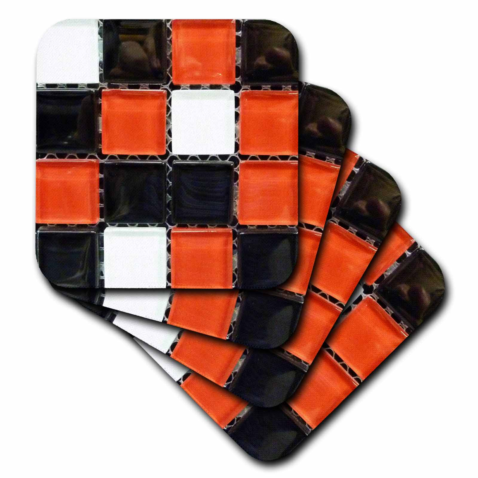3dRose Black White n Red Glass Tiles On Grid, Soft Coasters, set of 4