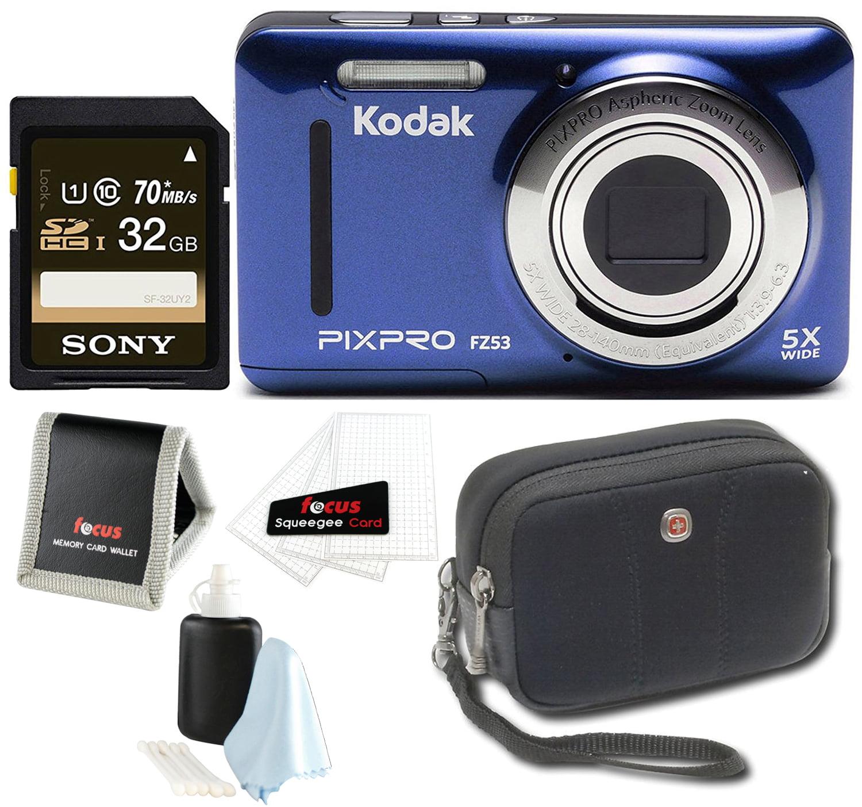 Kodak PIXPRO Friendly Zoom FZ53 (Blue) + Sony 32GB Class 10 70MB s SDHC Memory by Kodak