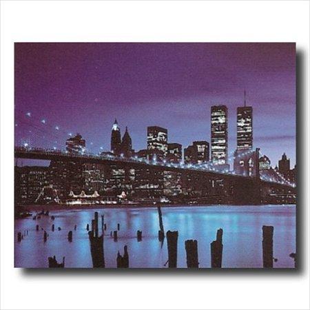 New York City Skyline Bridge Night Wall Picture Art Print