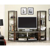 Furniture of America Walsh 3-Piece Entertainment Center Set in Brown