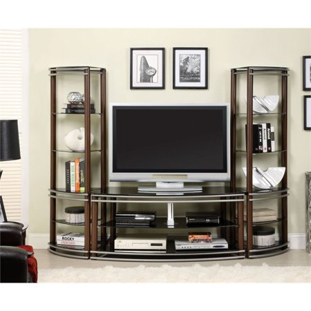 Furniture of America Walsh 3 Piece Entertainment Center in Brown ()