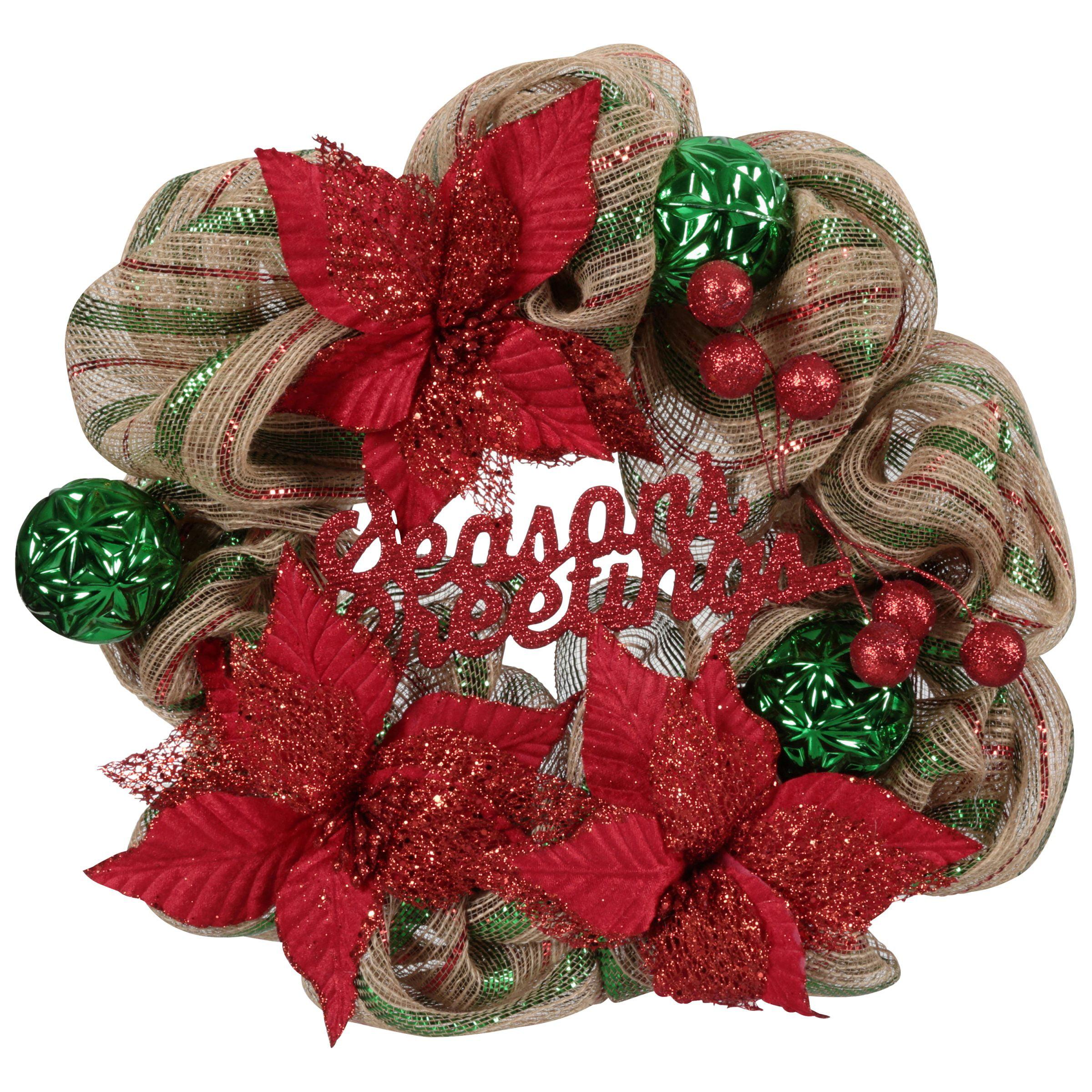 Wal-Mart Stores, Inc. Holiday Time Seasons Greetings 20-Inch Mesh Wreath