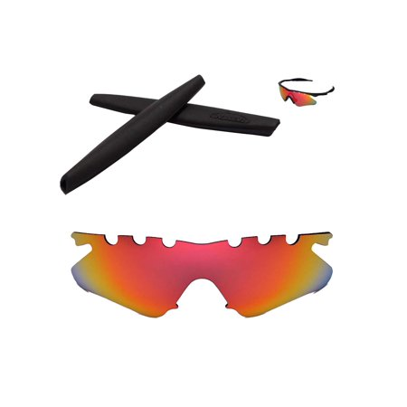 Walleva Fire Red Polarized Vented Replacement Lenses And Black Earsocks For Oakley M Frame Heater (Vented Sunglasses)