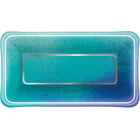 Foil Ocean Blue Scallop Print Rectangular Appetizer Plates, - Small Appetizer Plates