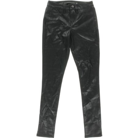 Womens Metallic Leather - Tinseltown Womens Juniors Faux Leather Metallic Skinny Pants