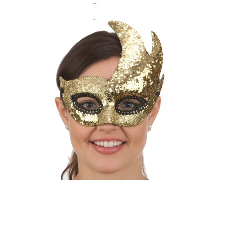 Mardi Gras Venetian Masquerade Swan Dove Mask Metallic Gold Costume Accessory](Metallic Mask)