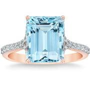 Aquamarine (11x9mm) & Diamond 14k Rose Gold Ring