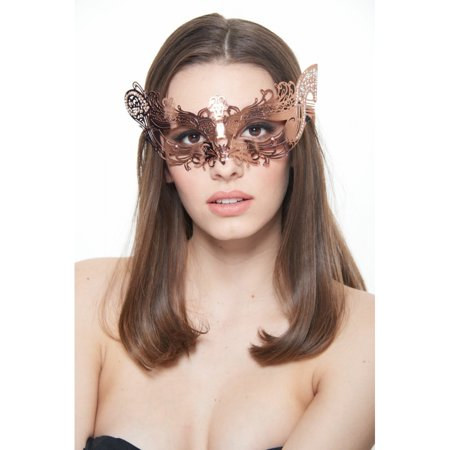BE004RG Luxury Rose Gold Princess Metal Laser Cut Venetian Masquerade Ball Mask with Sparkling -