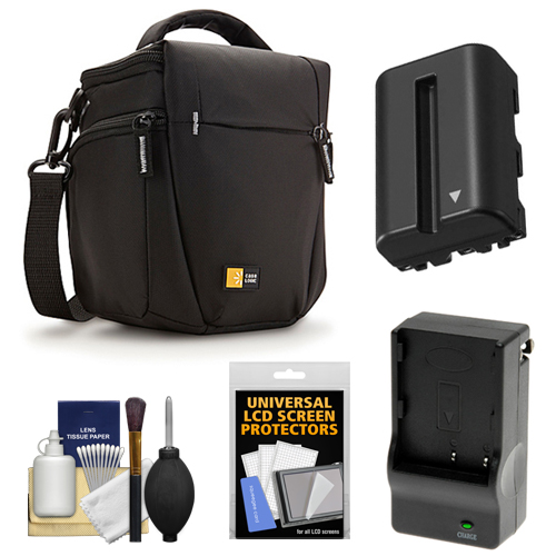 Case Logic TBC-406 Digital SLR Camera Holster Case (Black) with NP-FM500H Battery & Charger + Accessory Kit for Sony Alpha A57, A58, A65, A77, A99