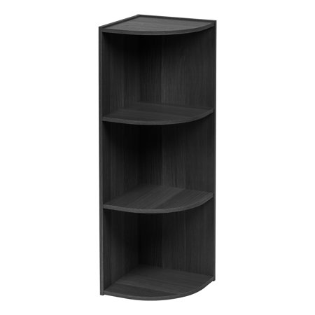 IRIS 3-Tier Wood Corner Curved Shelf Organizer, Black
