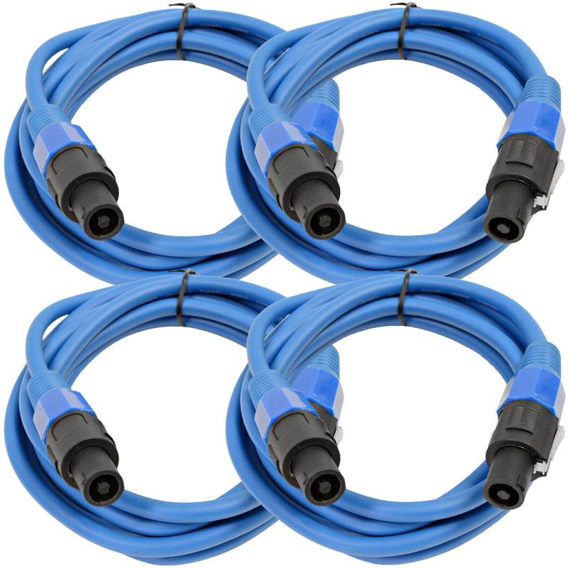 Seismic Audio  4 Pack of 12 Gauge 10' Blue Speakon to Speakon Speaker Cables 10' Blue - TW12S10Blue-4Pack